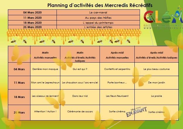 Planning des mercredis récréatifs mars 2020