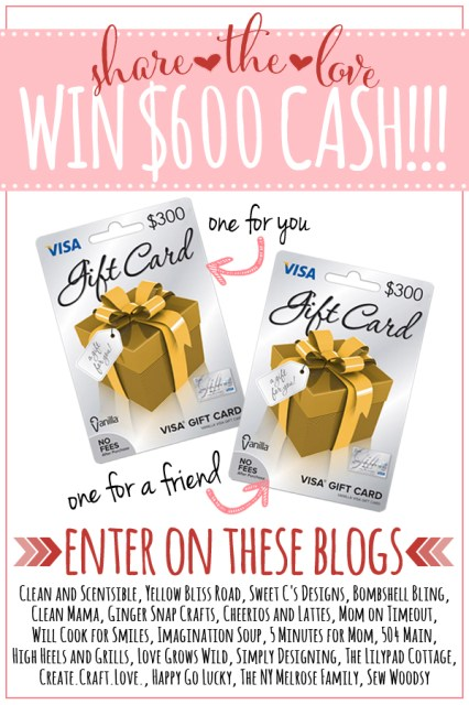 Share the Love $600 Cash Giveaway!