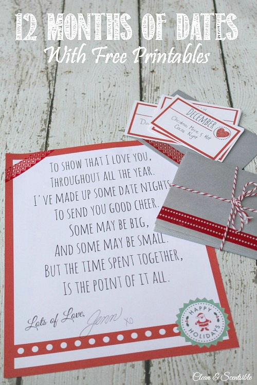 12 Months Of Dates Christmas Gift Ideas Clean And