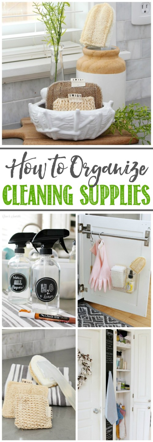 Great ideas on how to organize your cleaning supplies for quick and easy cleaning!