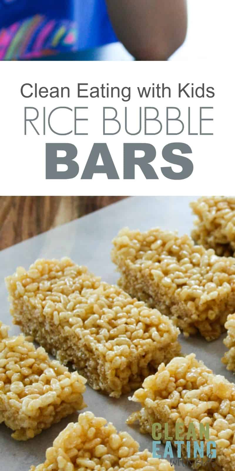 Clean Eating Rice Krispie Treats - 3 Ingredient No Bake Healthy Rice Krispy Treats- Just three ingredients and only takes 5 minutes to make. CleanEatingWithKids.com