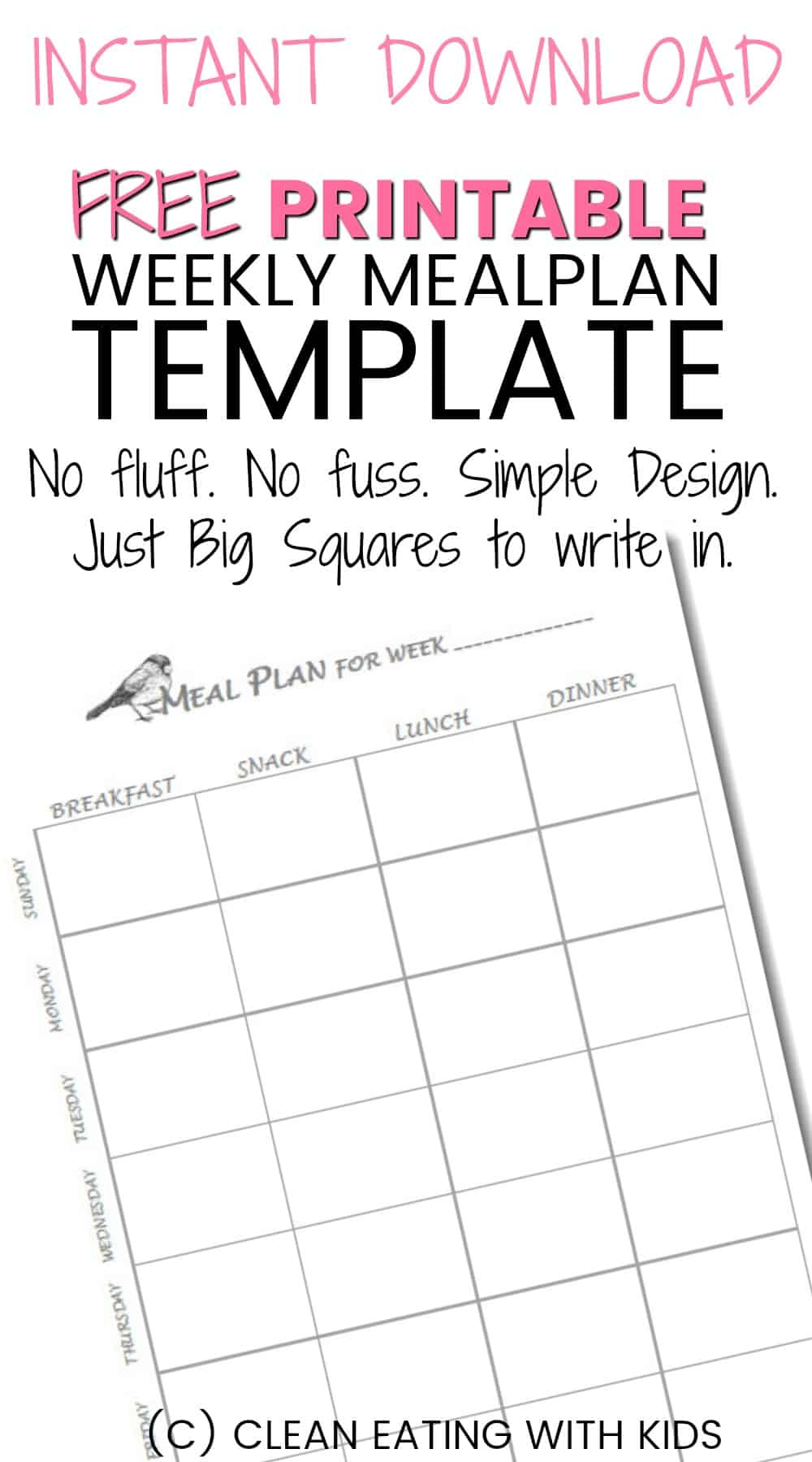 You are going to love this simple. no fluff meal plan printable. Easy to use with practical, big squares you can actually write in.