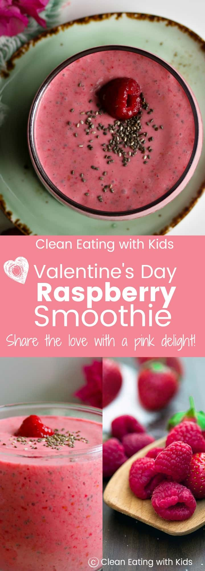 The perfect Valentines Day Smoothie that will make the whole family feel loved. #vegan #healthy #refinedsugarfree #cleaneating #realfood