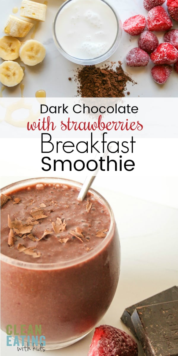 Clean Eating Chocolate & strawberry Smoothie. This decadently delicious dark chocolate and strawberry smoothie is dairy-free, and nut-free (yup) but it tastes bloody amazing!!! The family (even the fussy ones) will love the combination of the creamy coconut milk, cocoa & enticingly sweet strawberries. #chocolatesoothie #cleaneatingsmoothie #cleaneating #dairyfree #nutfree #healthysmoothie #cleaneatingwithkids