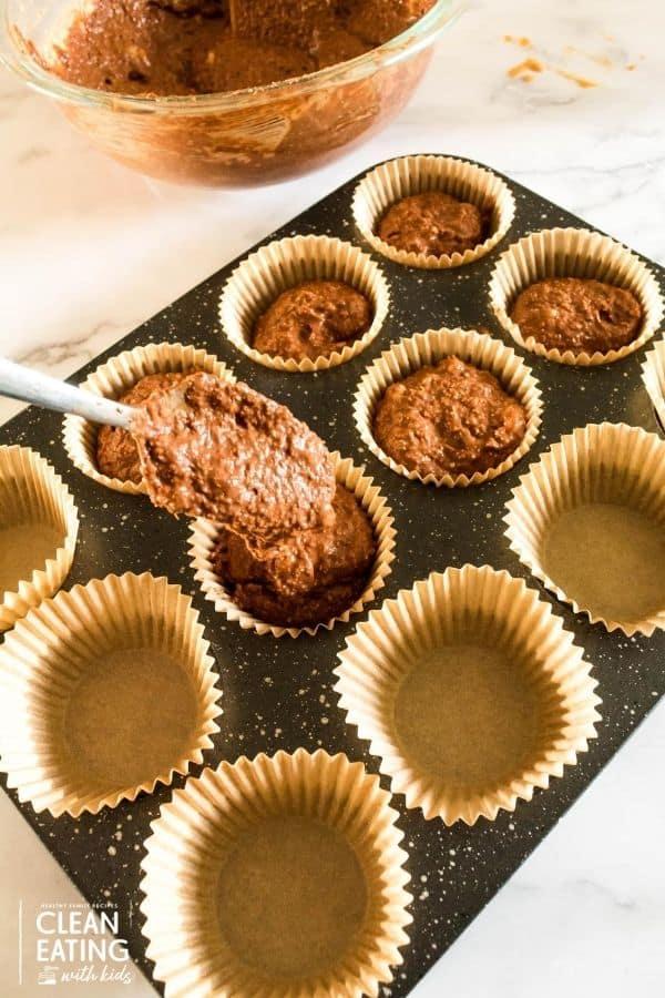 clean eating chocolate oatmeal banana muffins-spoon