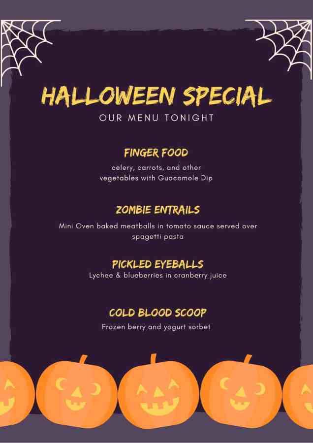 Healthy Halloween menu
