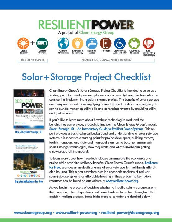 SolarStorage Project Checklist Clean Energy Group – Project Checklist