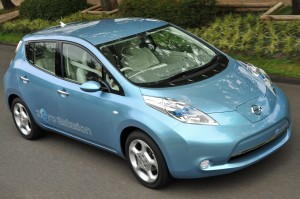 2010 Nissan LEAF EV on a Freeway Near You