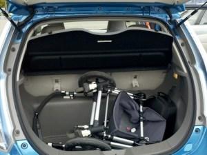Nissan LEAF trunk baby stroller