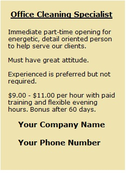 Cleaning company help wanted ad