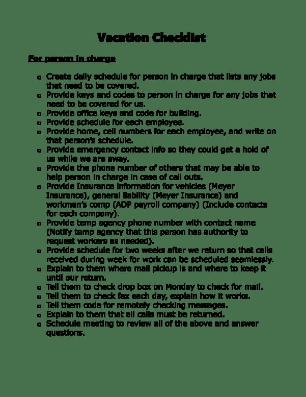 Vacation Checklist Part 1
