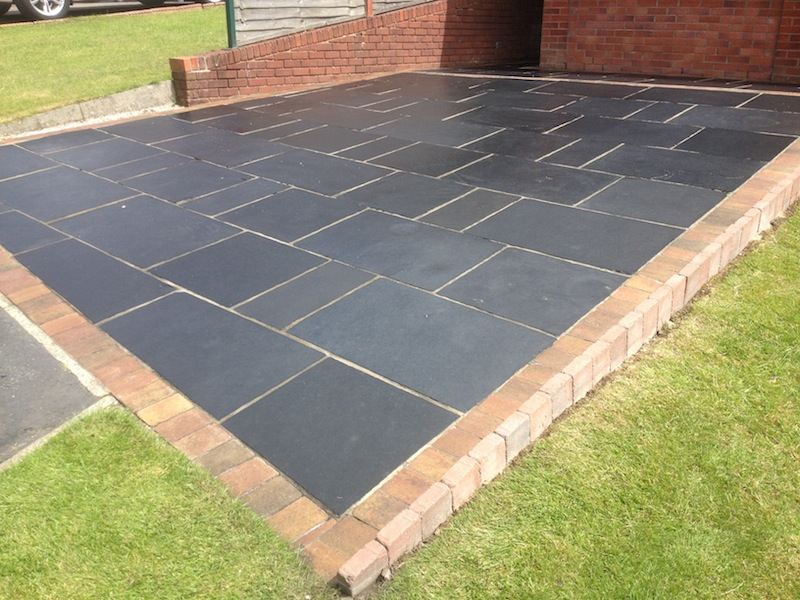 ... Indian Sandstone , Black Limestone Patio In Cheshire After Cleaning And  Sealing