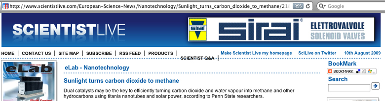 Recycling carbon dioxide - manufacturing methan from the carbon dioxide and water