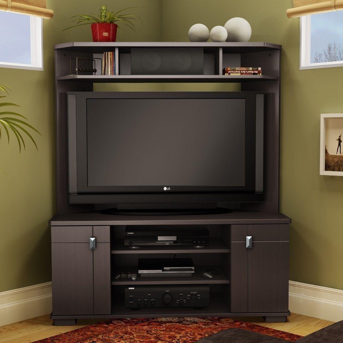 New 42 Inch Corner Tv Stand Dk Brown Entertainment Media Storage