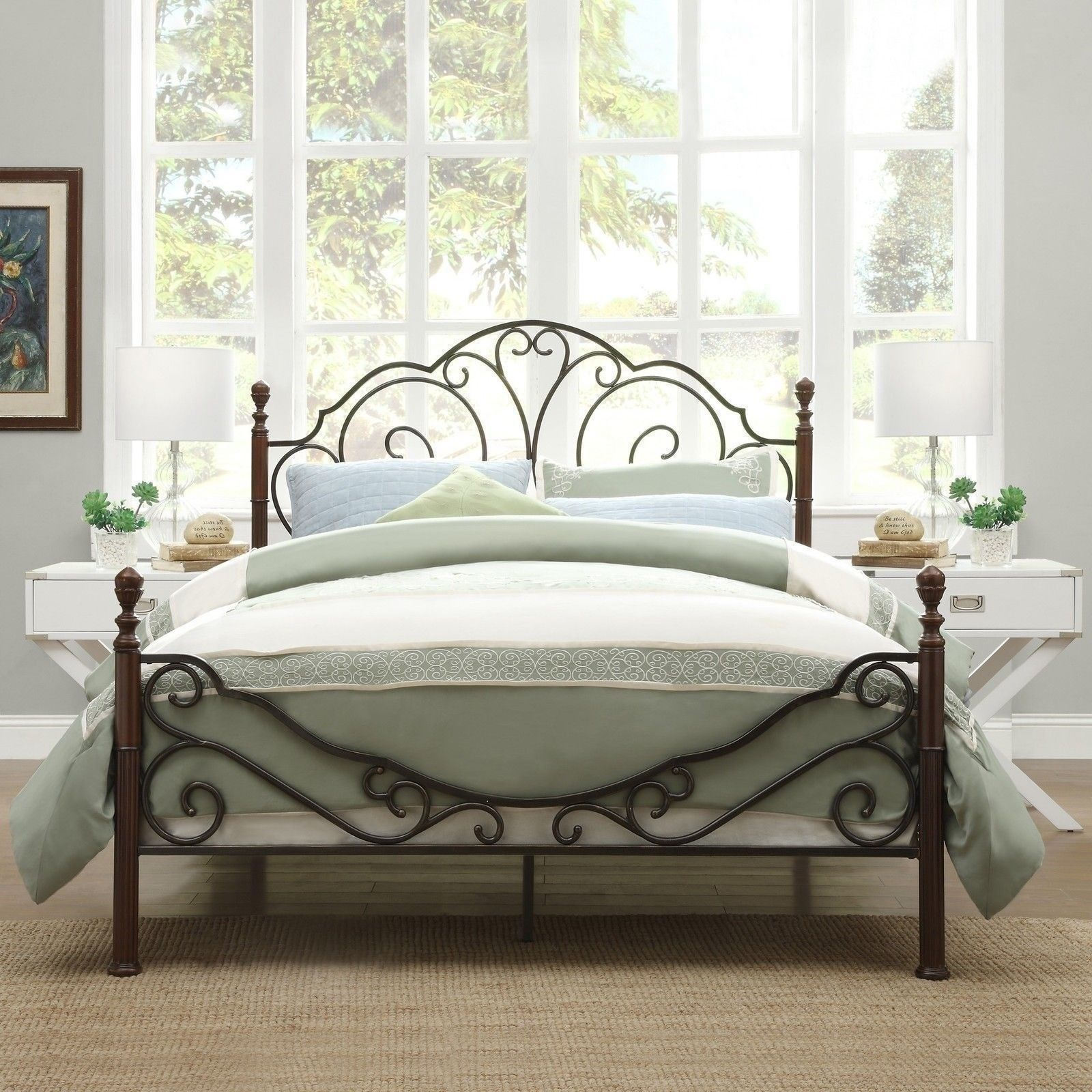 twin full queen king bronze metal wood four poster bed frame headboard footboard u2013 the clearance castle llc