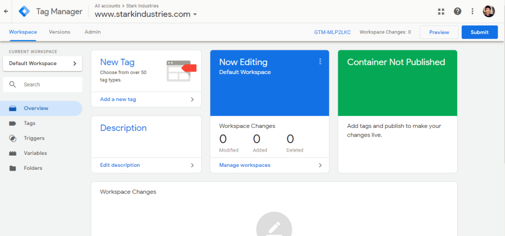 Google Tag Manager Workspace