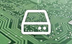 Hard drive icon over circuit board
