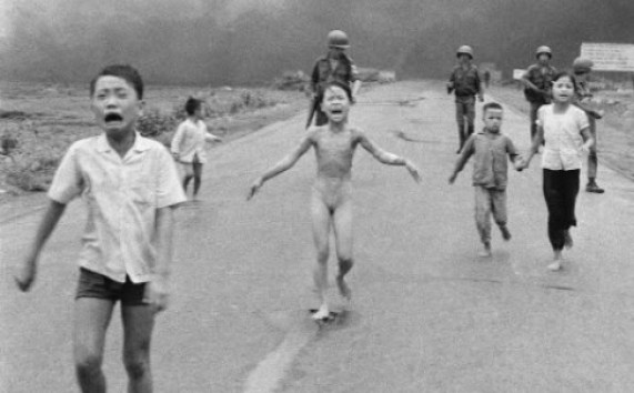 "Huynh Cong ""Nick"" Ut's iconic photo of South Vietnamese forces following behind terrified children, including nine-year-old Kim Phuc, centre, as they run down Route 1 near Trang Bang after an aerial napalm attack. Photo: AP"
