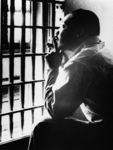 Martin Luther King, Jr., in jail in Birmingham, Alabama, April 1963
