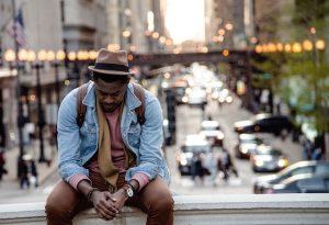 Depressed African American guy