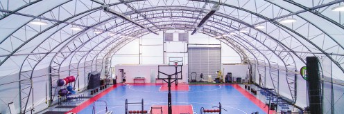 Basketball court and gym under a fabric structure