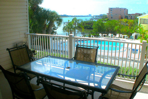 Enjoy water views from this large balcony at Captains Cove