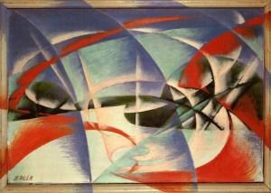 Velocità d'automobile + Luci, (1913-1914), olio su carta d'oro e tavola