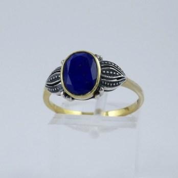 Bague Rétro Argent Vermeil et Lapis Lazuli