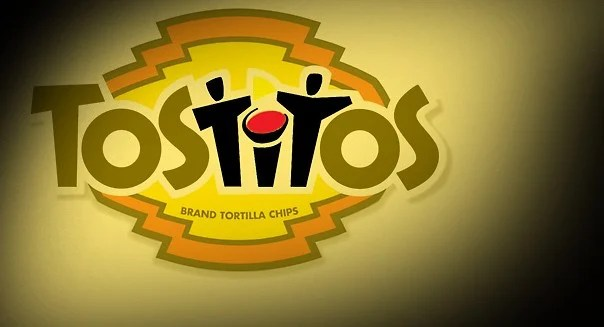 Tostitos logo with shape of friends sharing chips and salsa