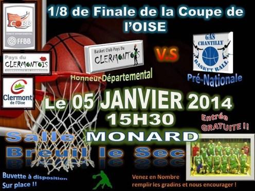 Basket Club Pays du Clermontois : 1/8ème de finale de la Coupe de l'Oise vs Chantilly, 5 janvier 2014 - Clermont Oise