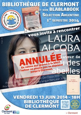 Bibliothèque : rencontre avec Laura Alcoba, auteur de Le Bleu de Abeilles, vendredi 13 juin 2014 - Clermont Oise
