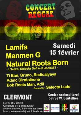 Concert Reggae, samedi 15 janvier 2014 - Clermont Oise