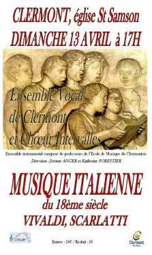Concert de musique italienne du 18ème siècle, dimanche 13 avril 2014 - Clermont Oise