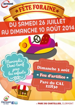Fête Foraine 2014, du samedi 26 juillet au dimanche 10 août - Clermont Oise