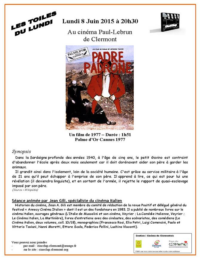 CinéClap - les toiles du lundi : Padre Padrone, lundi 8 juin 2015 - Clermont Oise