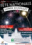 Fête Nationale 2015 - Soirée retraite aux flambeaux, bal populaire et feu d'artifice, lundi 13 juillet 2015 - Clermont Oise