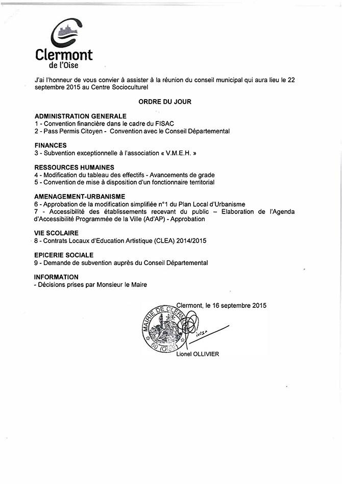 Conseil Municipal du 22 septembre 2015 - Clermont Oise