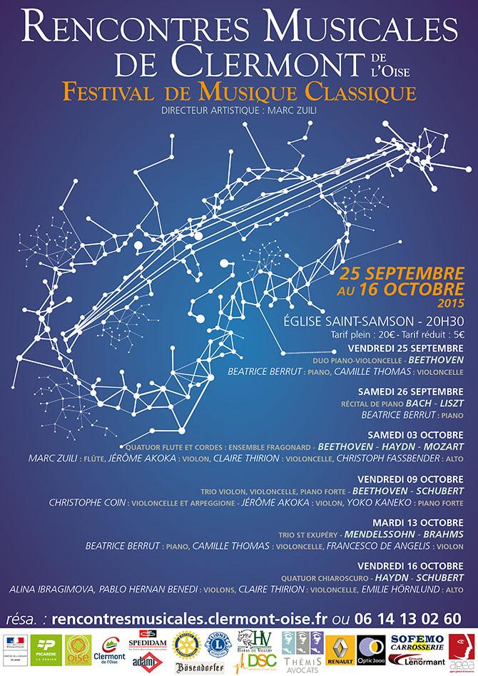 Rencontres Musicales de Clermont - Festival de musique classique, du 25 septembre au 16 octobre 2015 - Clermont Oise