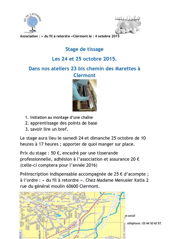 Du Fil A Retordre : stage de tissage les 24 et 25 octobre 2015 - Clermont Oise