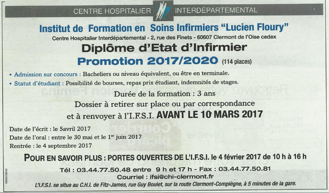 CHI de Clermont - concours du Diplôme d'Etat d'Infirmier, promotion 2017/2020