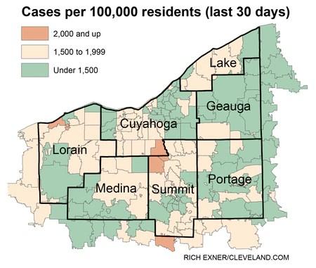 Ohio Coronavirus Fälle nach Postleitzahl