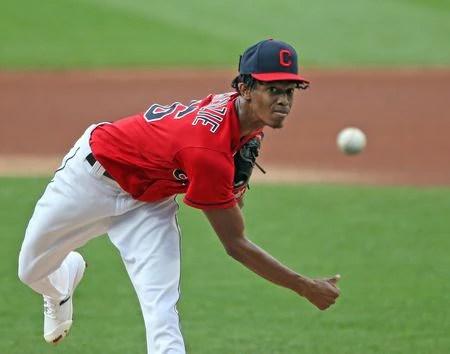 Cleveland Indians starting pitcher Triston McKenzie throws