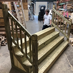 Custom Made Wood Stairs In Cleveland Ohio Cleveland Lumber Co   Stairs Made Of Wood   5 Step   Elegant   Solid Oak   Traditional   3 Step