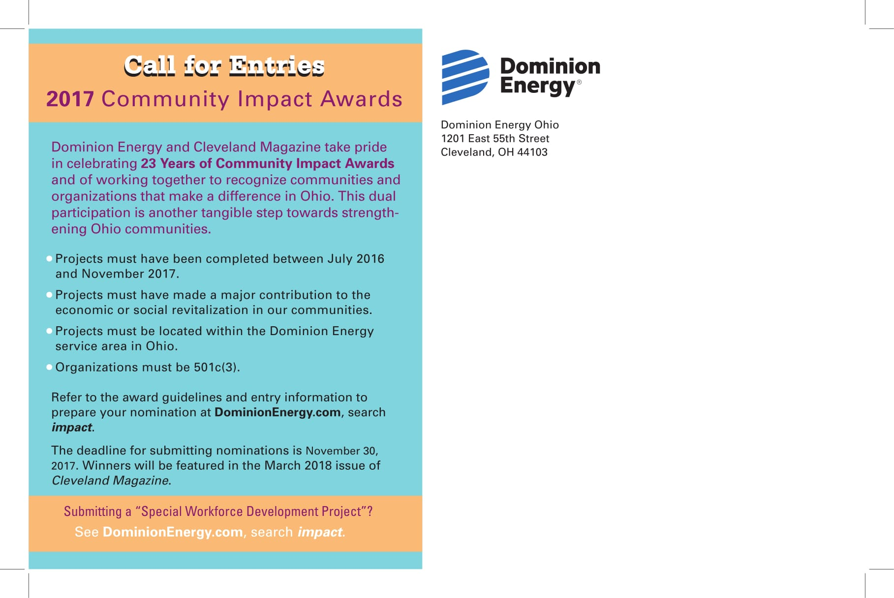 Dominion energy community impact awards application for Domon power release