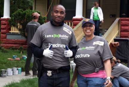 "Cleveland Police officers from Community Policing, 5th District, and the N.I.C.E Unit teamed up with Spectrum for Community Impact Day to spruce up 4 homes located in the Hough neighborhood!! These officers and community members define ""community policing!"