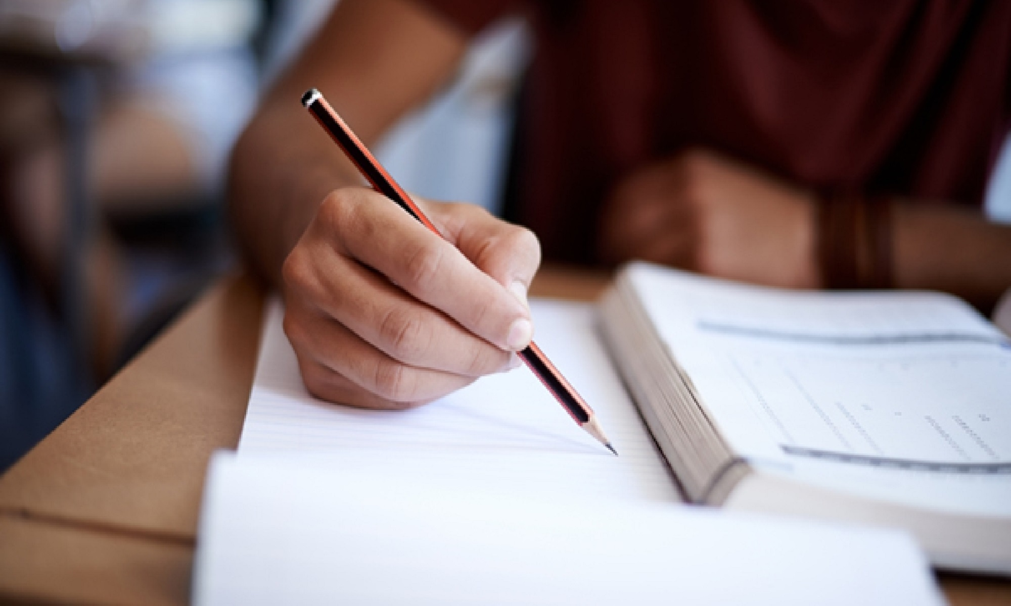 A photo of a student writing