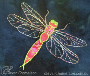 Dragonfly free-motion embroidery designed by Dione Gardner-Stephen of Clever Chameleon.com.au