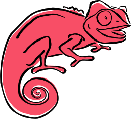 Clever Chameleon logo in red