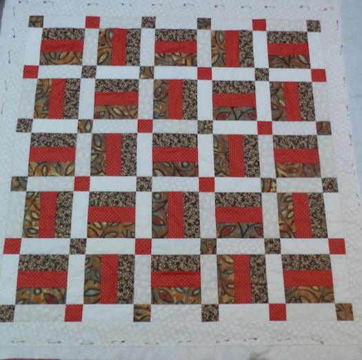 red and brown charity quilt