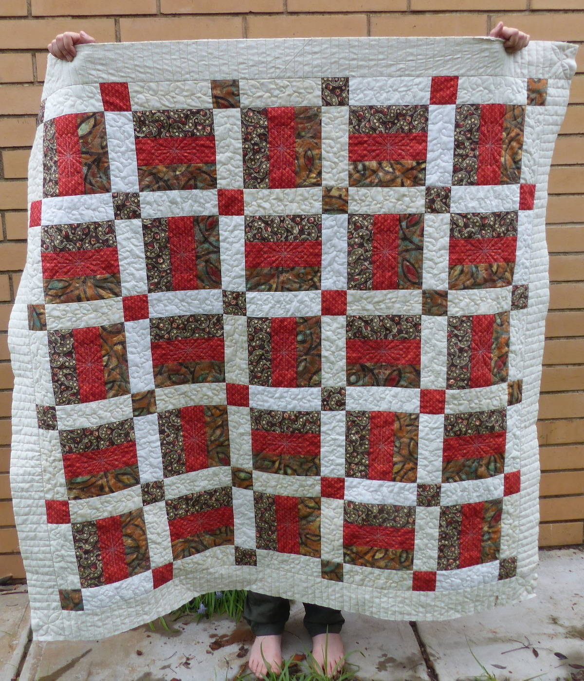 "Finished ""Jaffas and Cream"" quilt."
